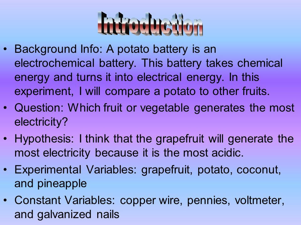 Potato Battery Essay Sample