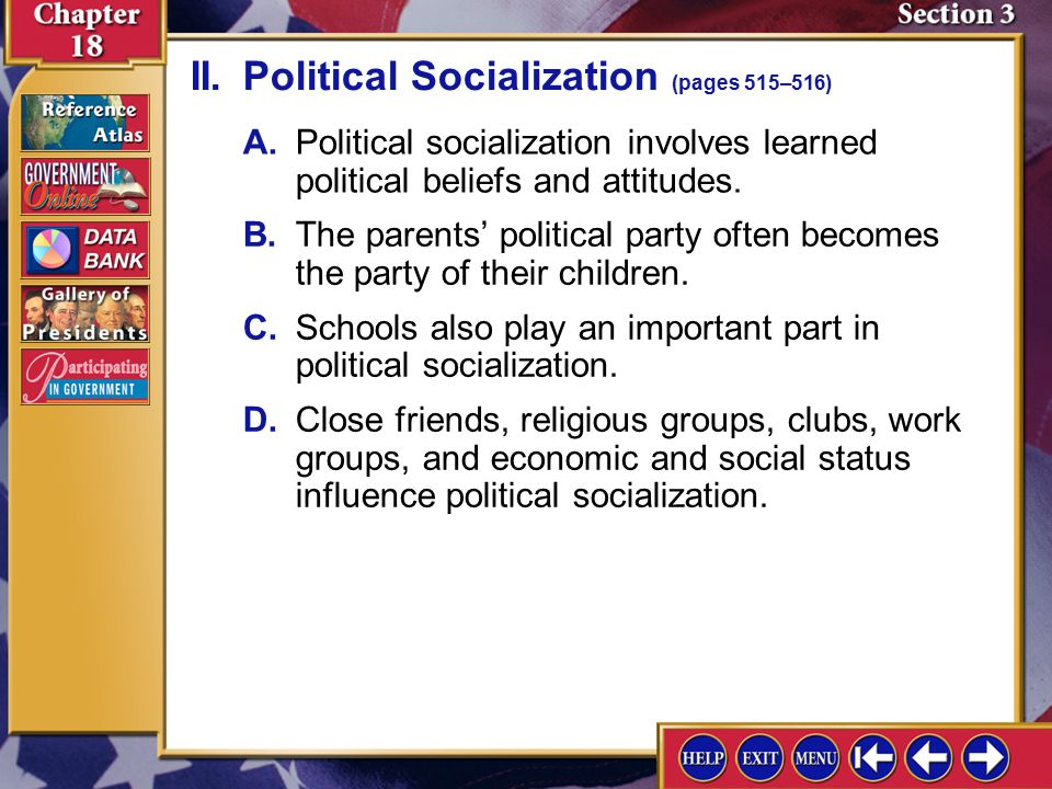 my political socialization essay Political culture whereas culture refers to the customs, behaviour, historical linkages and general attitudes of a particular group of people, political culture is the.