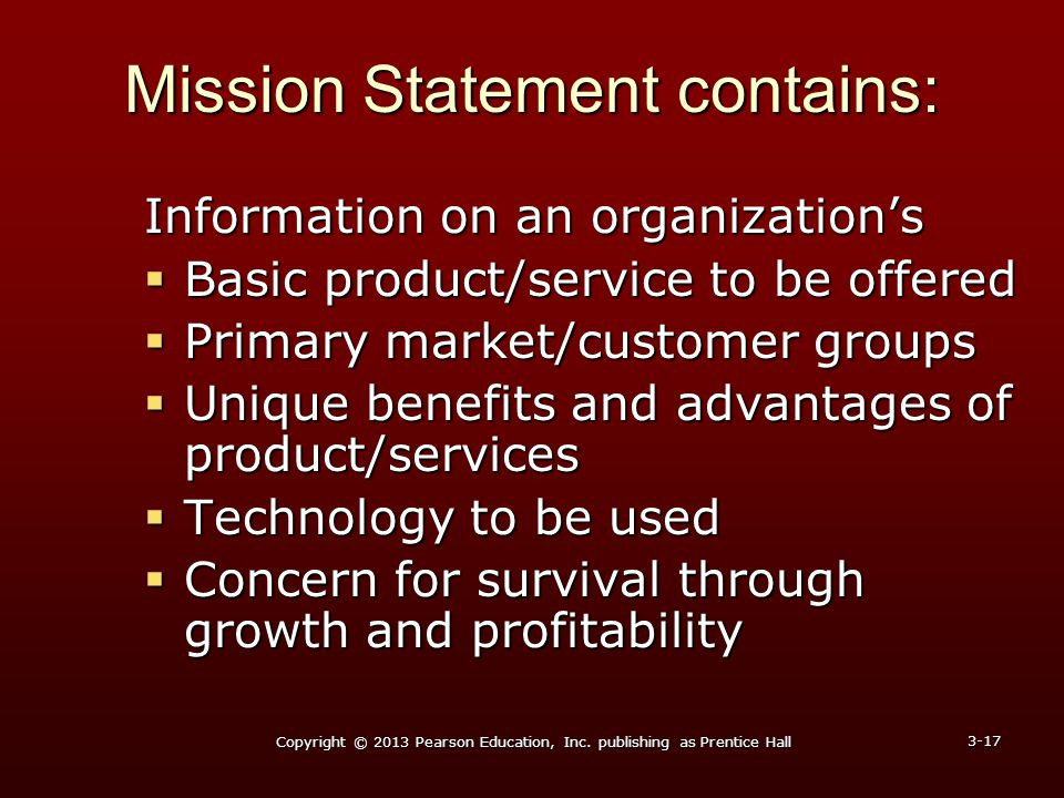 Mission Statement contains:
