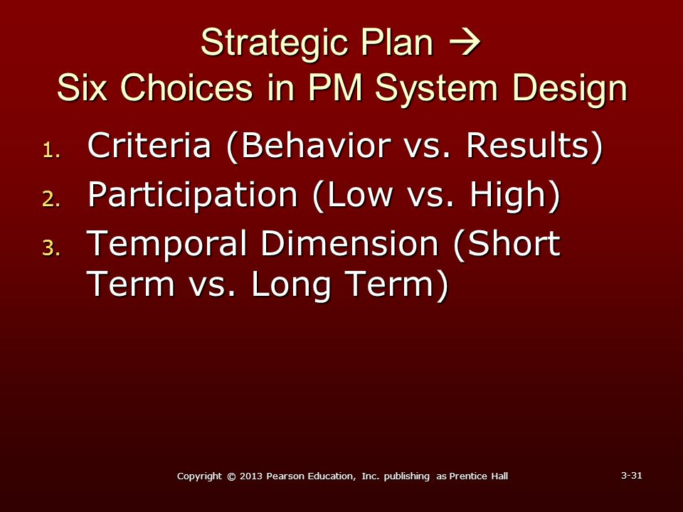 Strategic Plan  Six Choices in PM System Design
