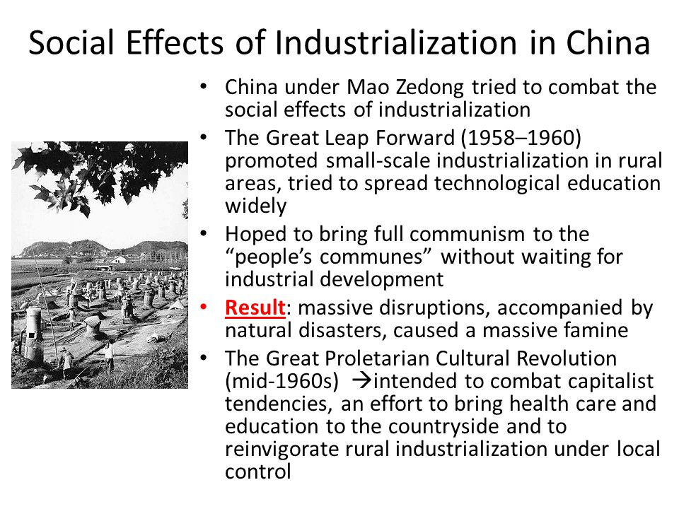 the social effects of industrialization The industrial revolution traces its roots to the late 19th century in britain innovation, specialization and wealth creation were causes and effects of industrialization in this period the late 20th century was noteworthy for rapid industrialization in other parts of the world.