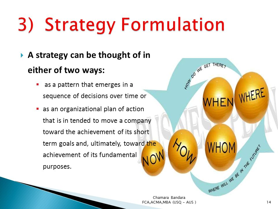 thought and strategy formulation Formulation corporate strategy has two components formulation and implementation formulation produces a clear set of recommendations that help revise the mission and objectives of an organization, and supplies the strategies for accomplishing them (mitchell, retrieved january 18, 2005.