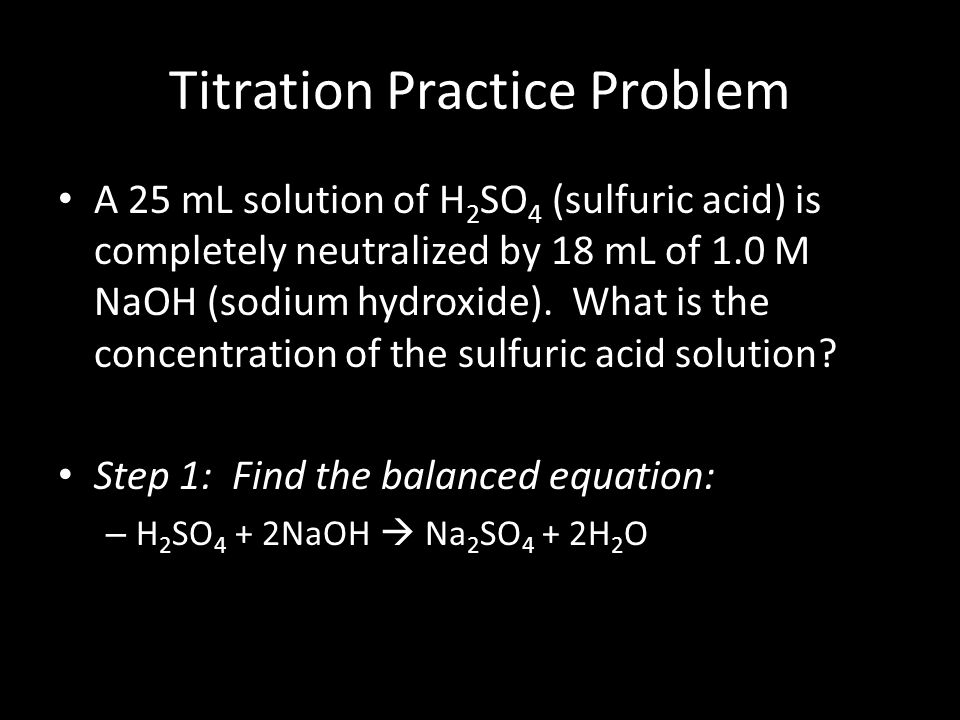 Titration finding concentration solution sulphuric acid
