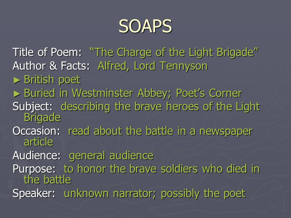 "charge of the light brigade essays The poem ""the charge of the light brigade"" by alfred, lord tennyson uses strong imagery and figurative language which creates the tone of exhilaration and the."