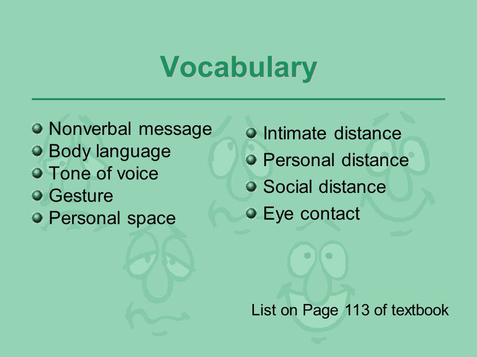 Vocabulary Nonverbal message Body language Tone of voice Gesture