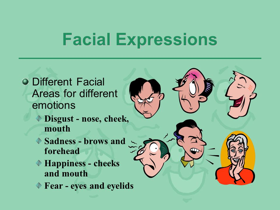 Facial Expressions Different Facial Areas for different emotions