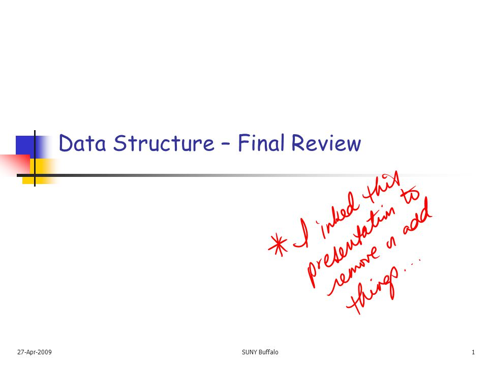 Data Structures - Final Exam Review