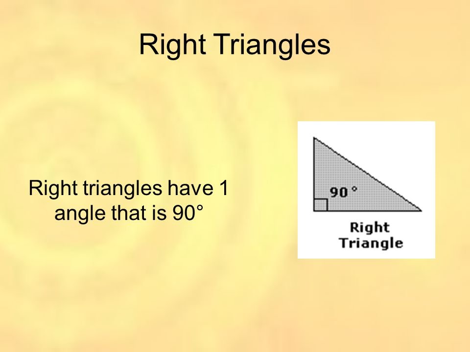 Right triangles have 1 angle that is 90°
