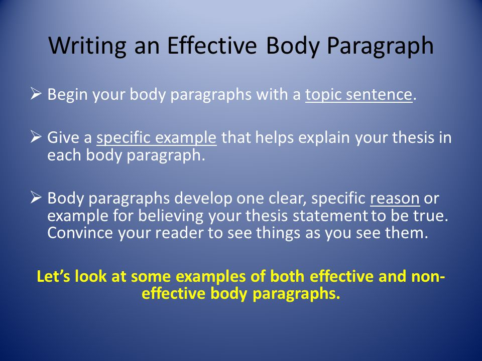 writing effective paragraphs essay Not all essays call for explicit topic sentences, but most beginning writers should learn how to write effective topic sentences early on in order to achieve paragraph unity more on topic sentences no matter what type of essay is being written, all body paragraphs need to be fully developed and provide supporting detail.