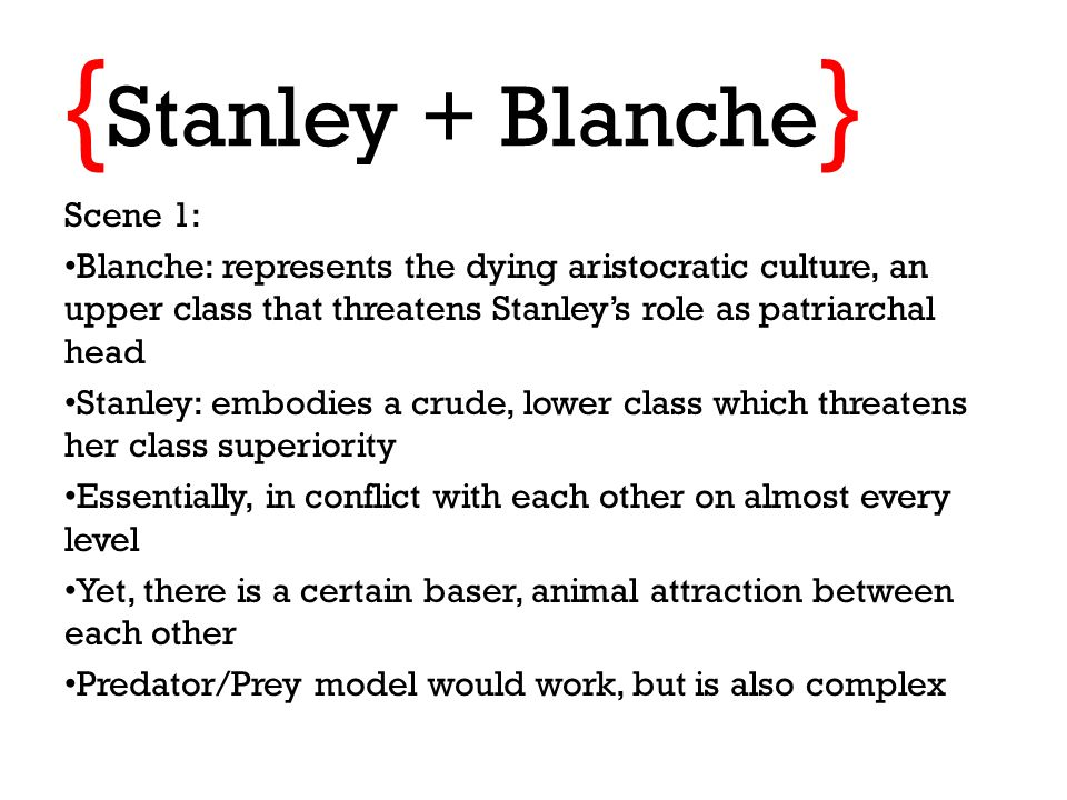 "an analysis of williamss presentation of the conflict between blanche and stanley ""a streetcar named desire is a portrayal of the downfall of the bourgeois of the downfall of the bourgeois and between stanley and blanche can."