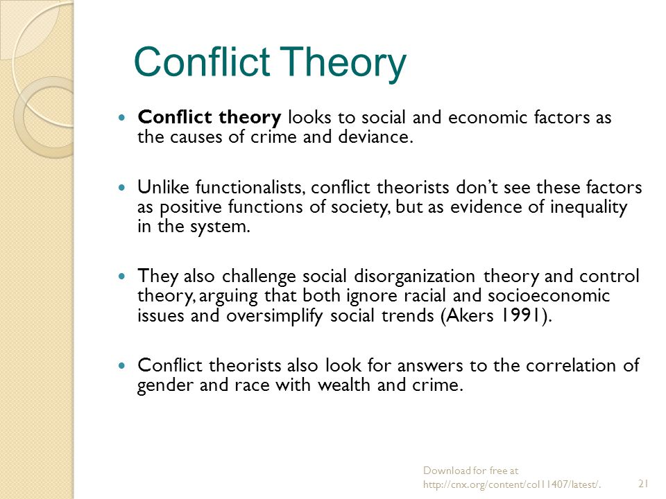 theories of deviance from the conflict Researching theories of crime and deviance offers a critical evaluation of the research methods that generate data   conflict theory  integrated theory.