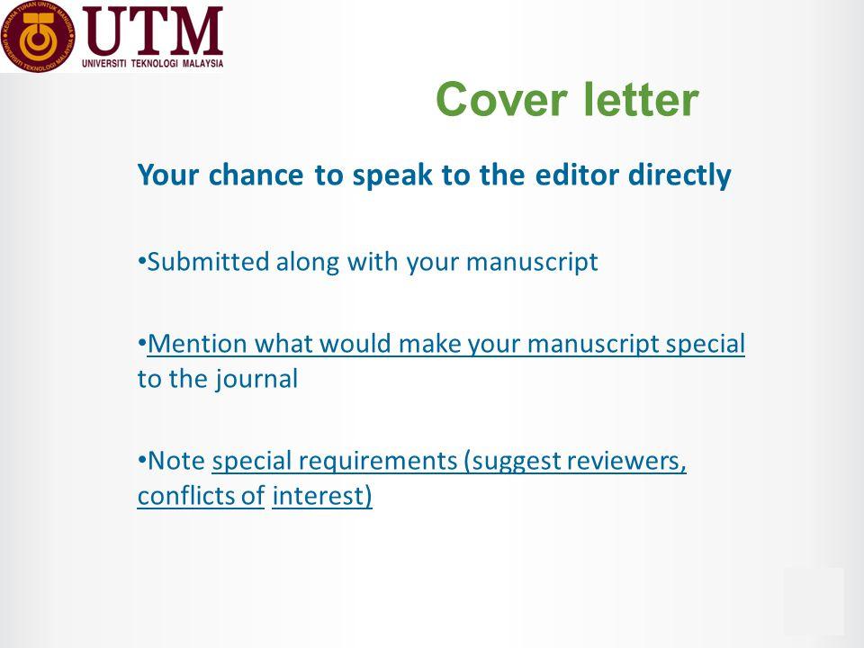 Manuscript Cover Letter