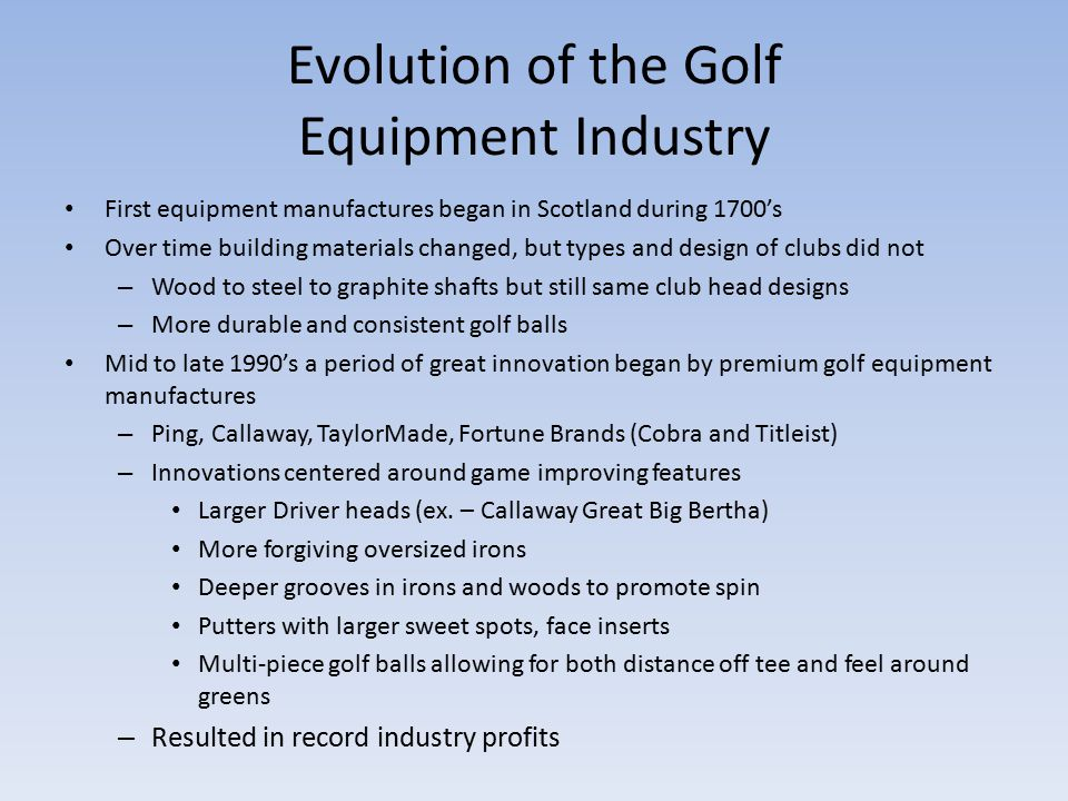 the golf equipment industry Golf equipment market - global industry analysis, size, share, growth, trends and forecast 2017 - 2025.