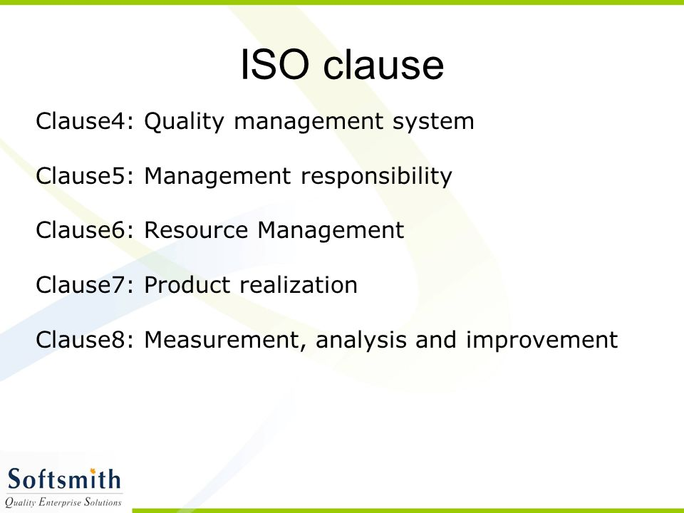 ISO clause Clause4: Quality management system