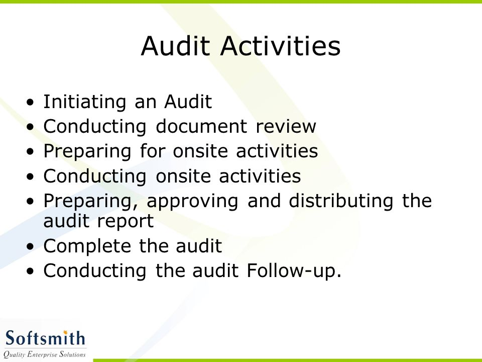 Audit Activities Initiating an Audit Conducting document review