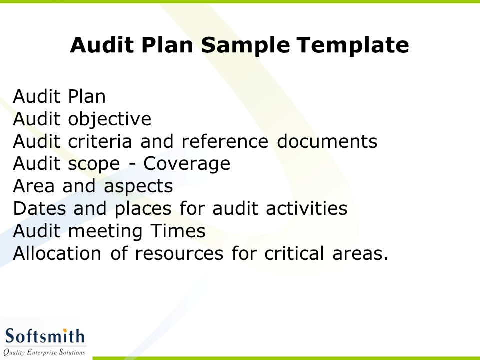 Audit Plan Sample Template