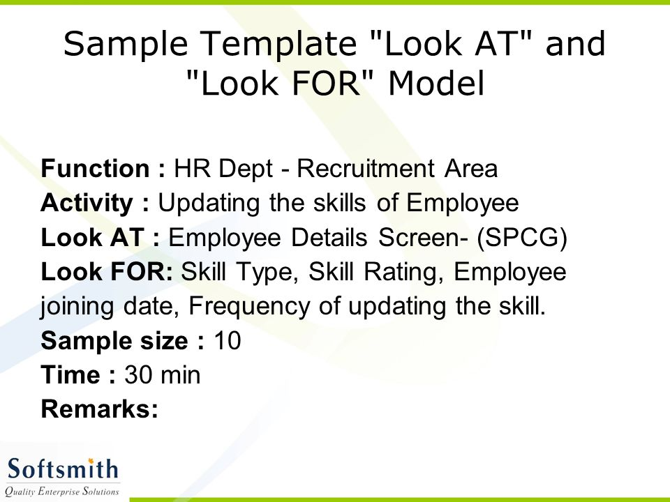 Sample Template Look AT and Look FOR Model