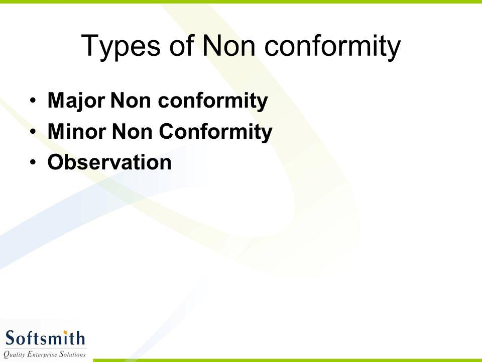 Types of Non conformity