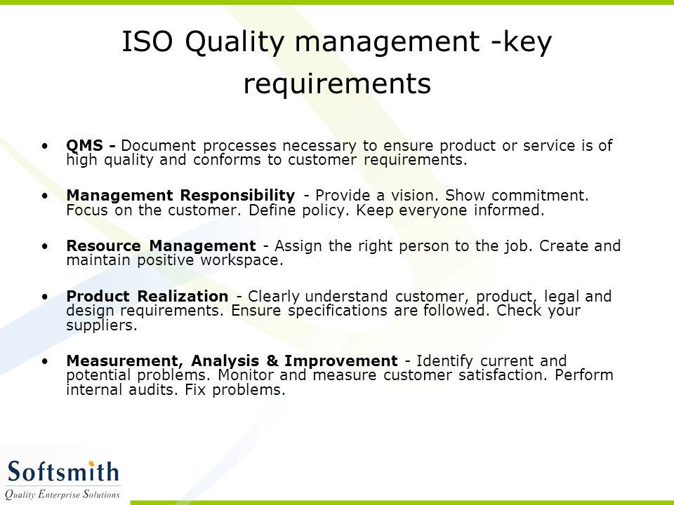 ISO Quality management -key requirements