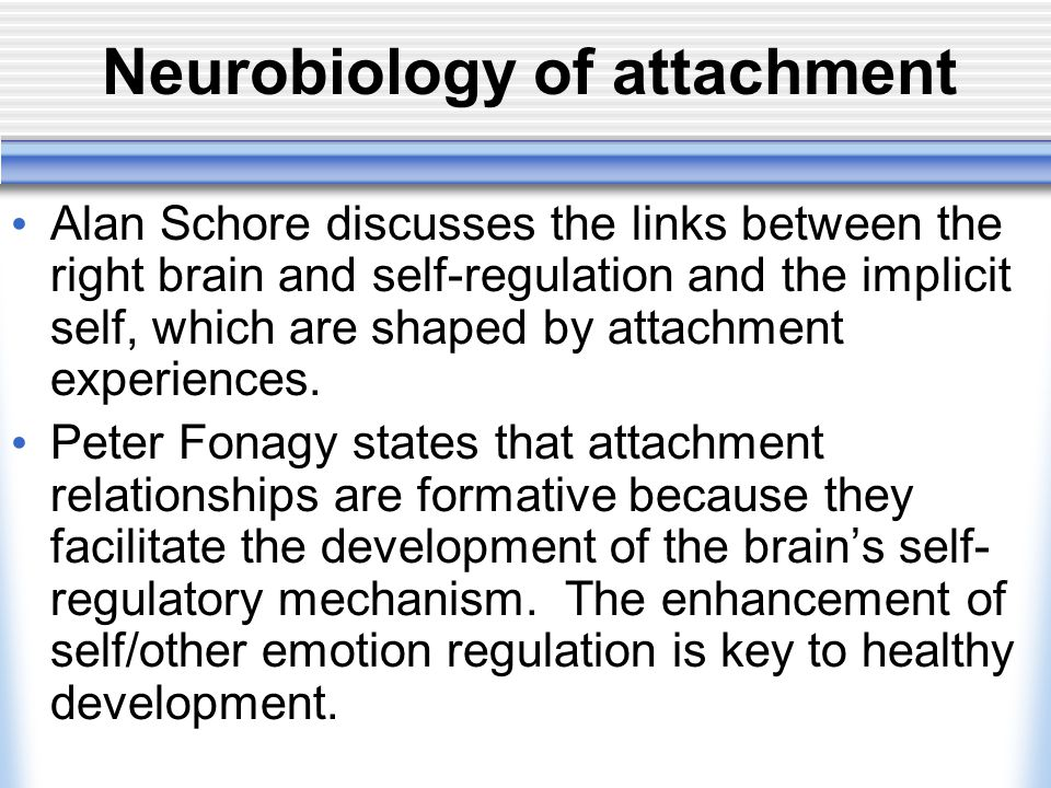 neurobiology and attachment Regina m sullivan, phd is a developmental behavioral neuroscientist researching the neurobiology of infant attachment to the caregiver to determine the neural mechanisms for the enduring mental health effects of abuse and trauma in early life.