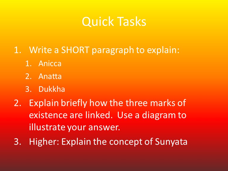 """the concepts of dukkha and anicca Rss09 world religions 1: buddhism or sikhism or  0 1 outline the concept of dukkha and explain how a belief  into dukkha, anicca anatta etc and interpret."