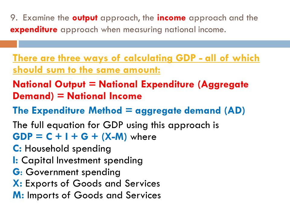 how are national income expenditure and product measured The published national income accounts for the uk, called the 'blue book', measure all the economic activities that 'add value' to the economy adding value national output, income and expenditure, are generated when there is an exchange involving a monetary transaction.