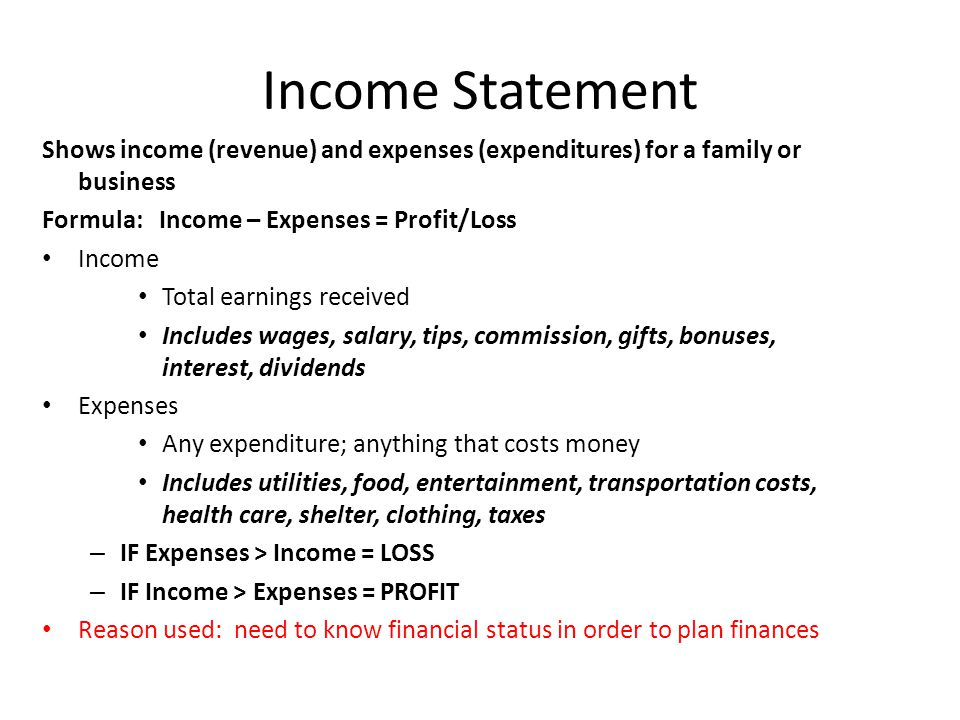 personal income statement shows Small business owners need to know how to prepare an income statement this article presents an income statement and shows how to prepare it.