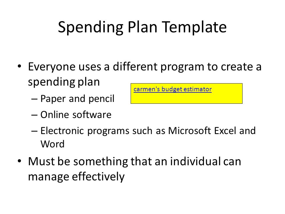Essential Standard 80 Apply procedures for managing personal – Spend Plan Template