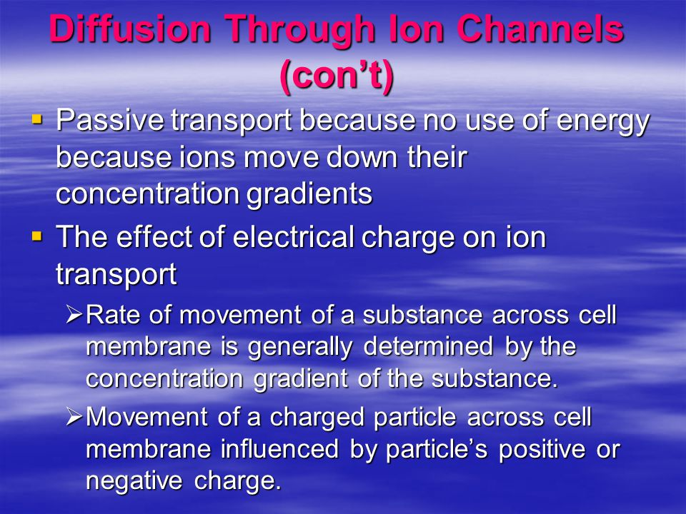 Diffusion Through Ion Channels (con't)