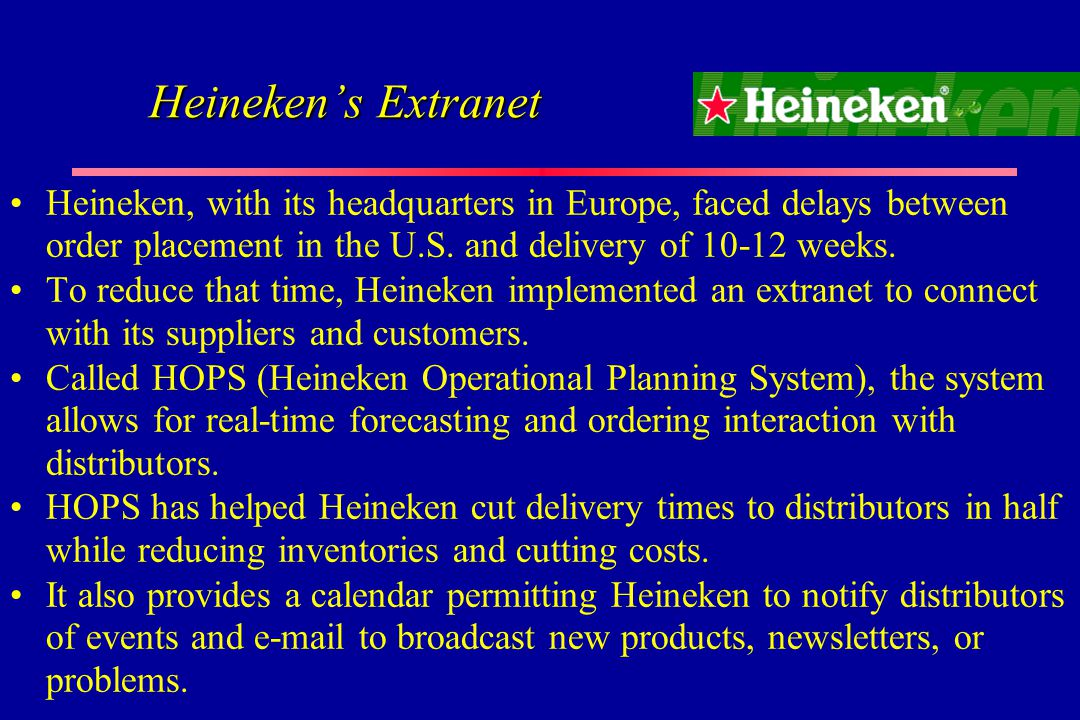 heineken hops operational planning system Called heineken operational planning system (hops) to allow the parent company to produce the beer closer to the time when they need to deliver it, so the customer.