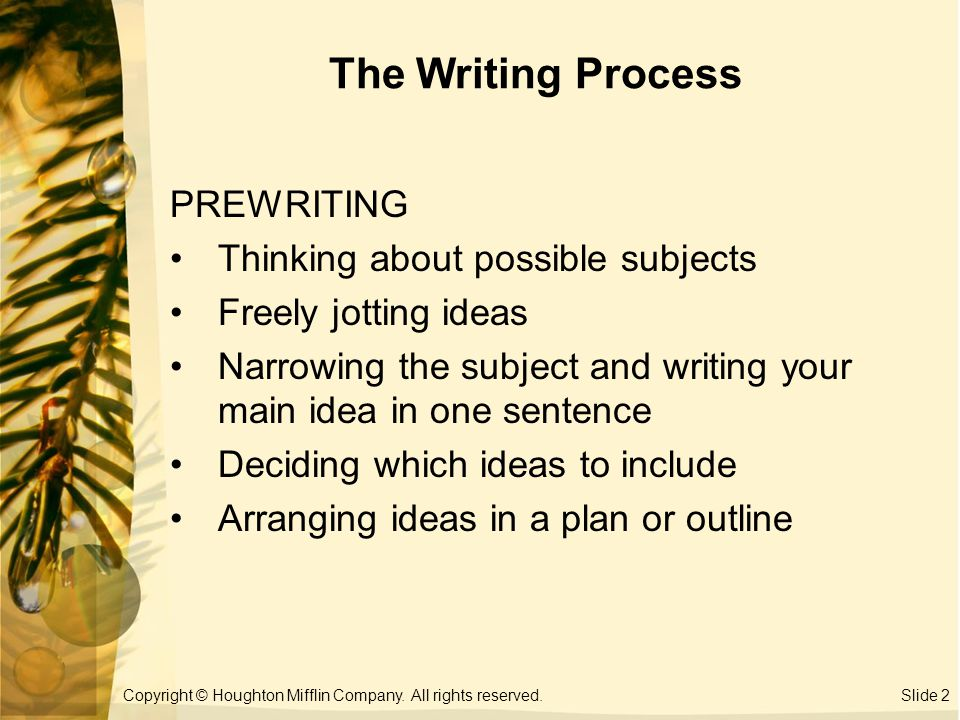 the writing process prewriting Prewriting is the stage of the writing process during which you transfer your abstract thoughts into more concrete ideas in ink on paper (or in type on a computer screen.