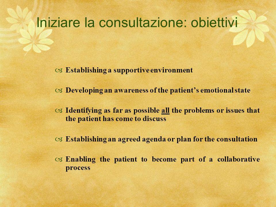 Iniziare la consultazione: obiettivi
