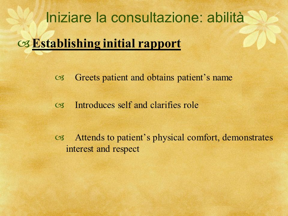 Iniziare la consultazione: abilità