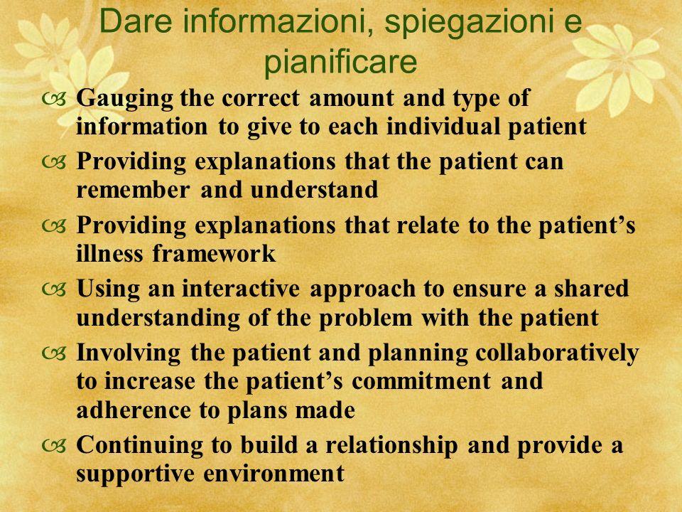 Dare informazioni, spiegazioni e pianificare