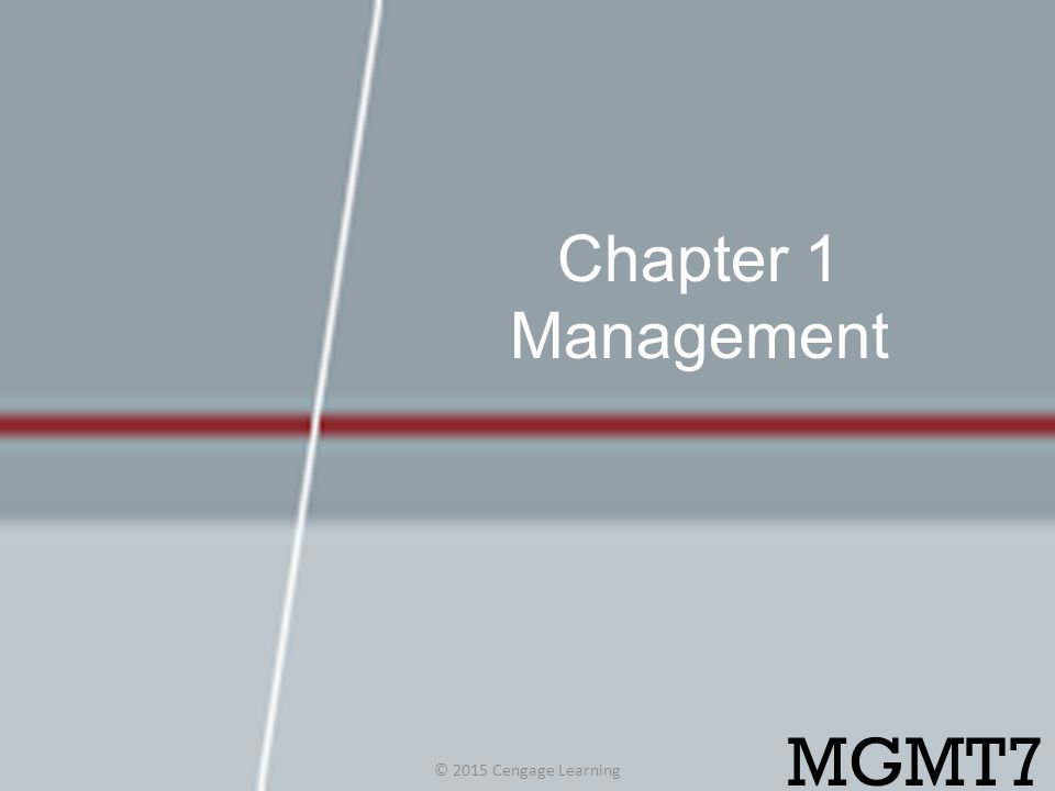 Chapter 1 Management MGMT7 © 2015 Cengage Learning