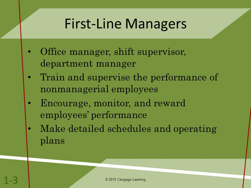 First-Line Managers Office manager, shift supervisor, department manager. Train and supervise the performance of nonmanagerial employees.