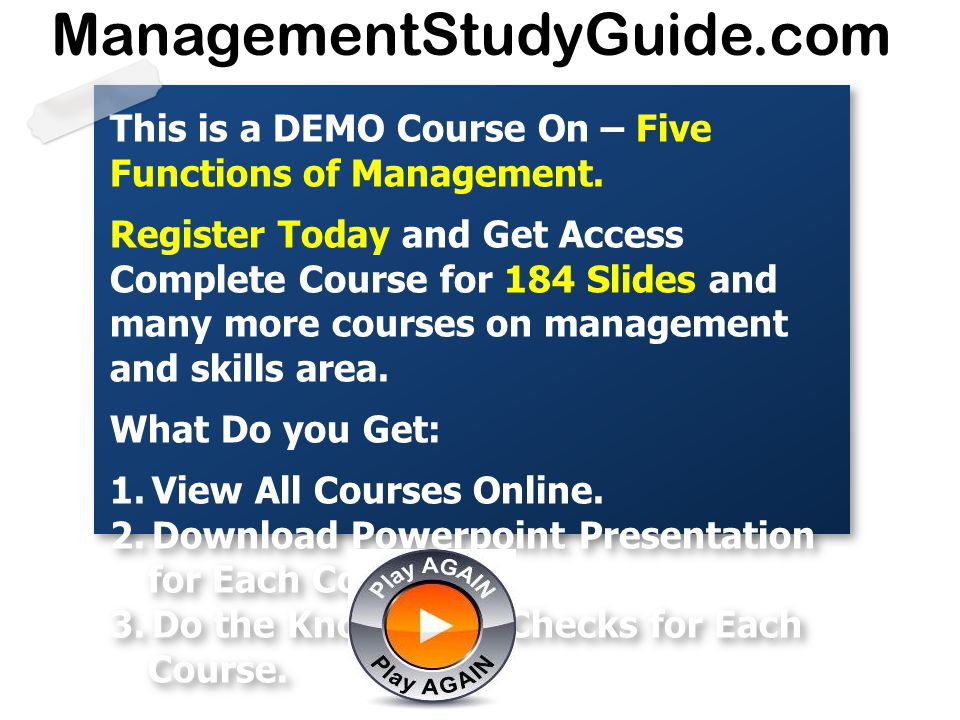 ManagementStudyGuide.com This is a DEMO Course On – Five Functions of Management.