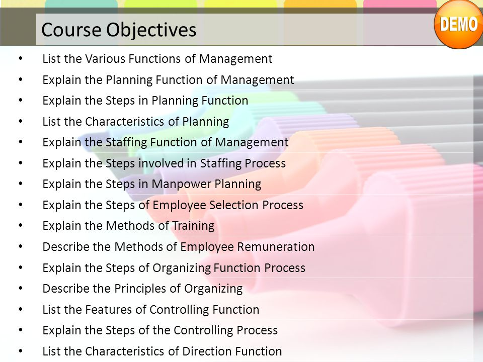 Course Objectives List the Various Functions of Management
