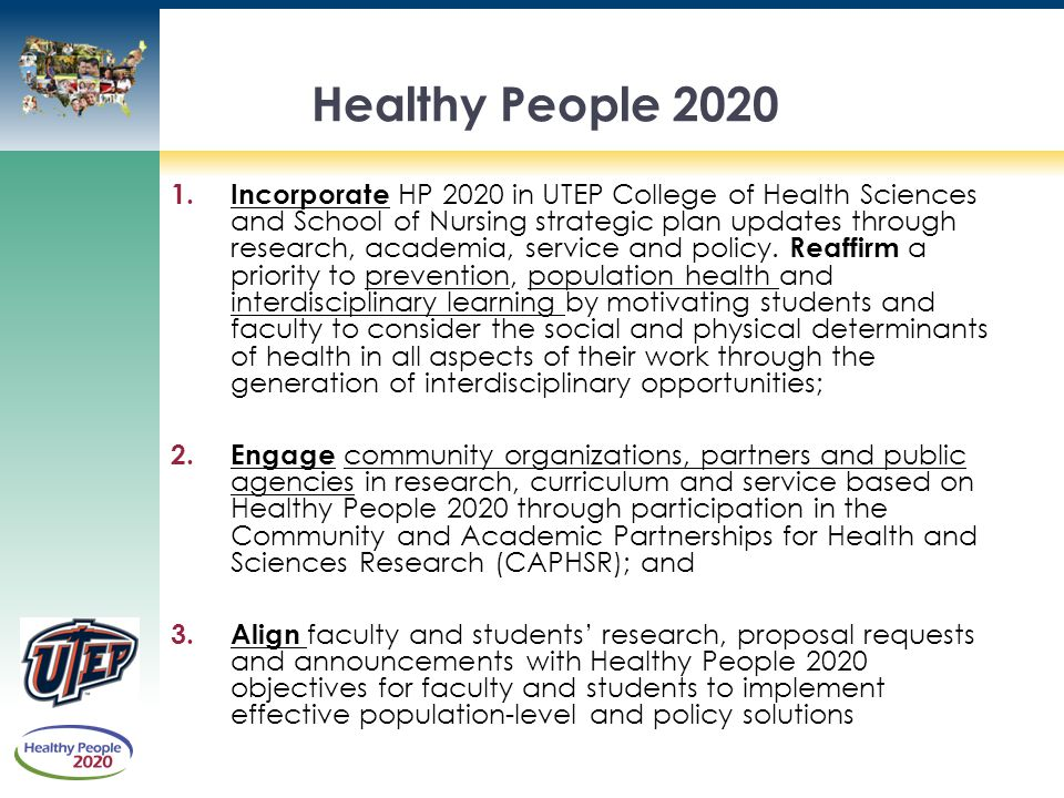 Eva moya phd lmsw assistant professor department of social work ppt download for Healthy people 2020 is a plan designed to