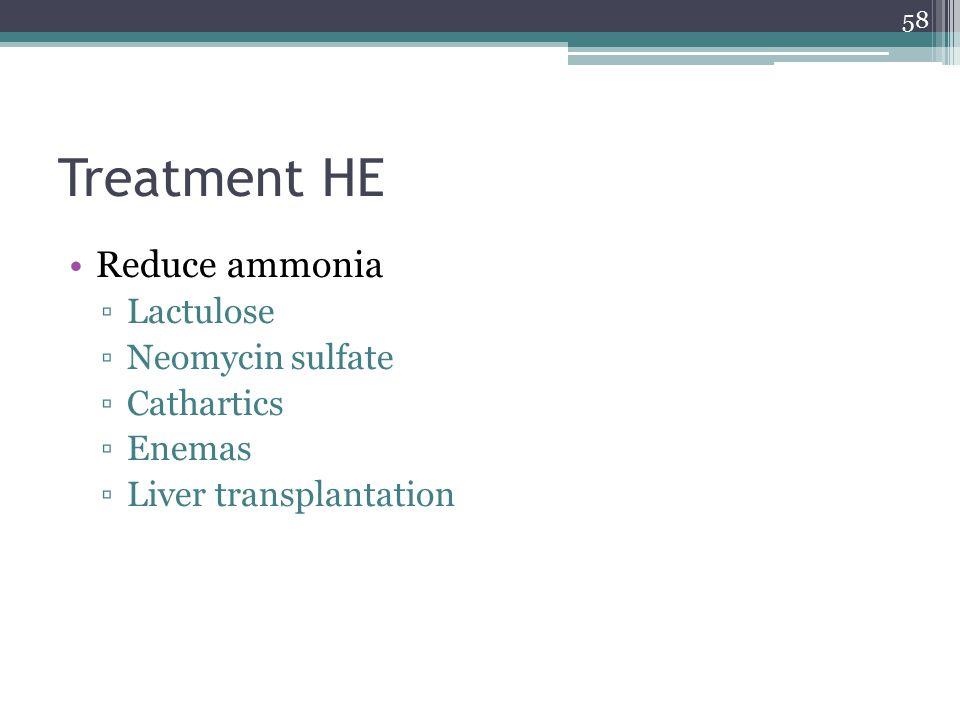 Treatment HE Reduce ammonia Lactulose Neomycin sulfate Cathartics