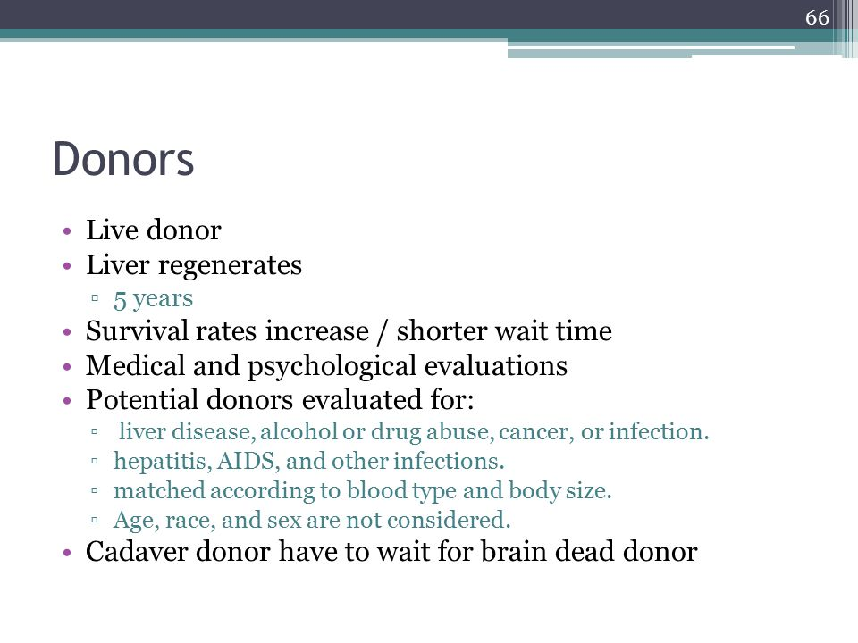 Donors Live donor Liver regenerates