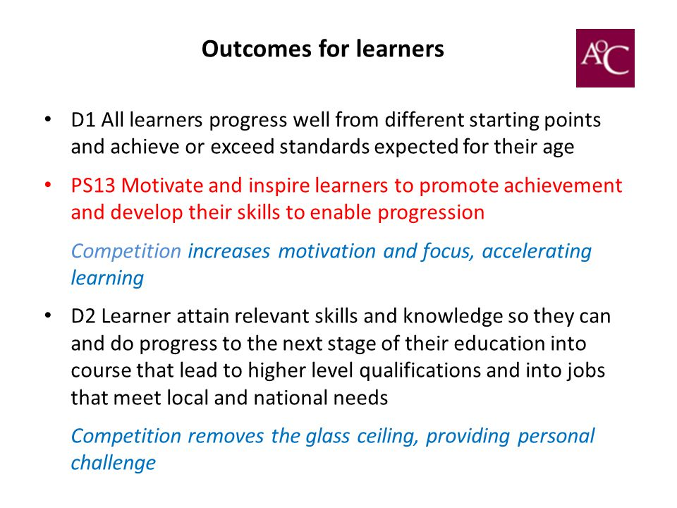 Outcomes for learners D1 All learners progress well from different starting points and achieve or exceed standards expected for their age.
