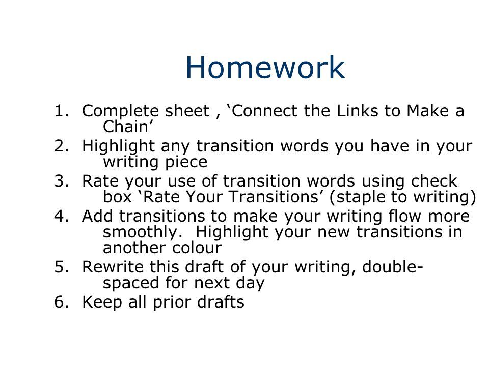 transition in writing