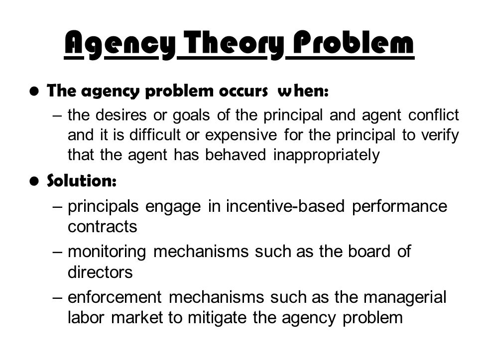 agency problem solutions