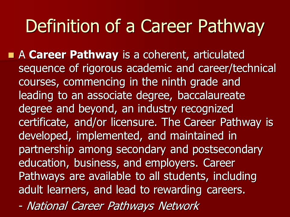 Definition of a Career Pathway