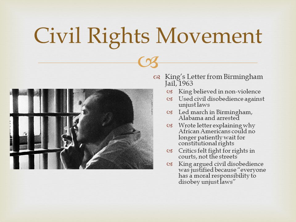 Civil Rights Movement King's Letter from Birmingham Jail, 1963