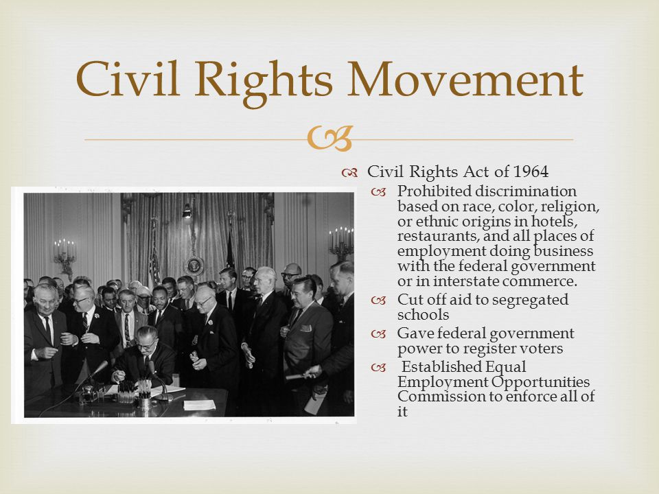 essay on the civil rights act of 1964 Title vii of the civil rights act of 1964 is the single most important piece of legislation that has helped to shape and define employment law rights in this country.