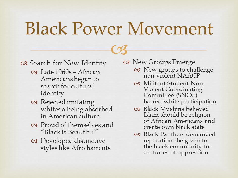 Black Power Movement Search for New Identity New Groups Emerge