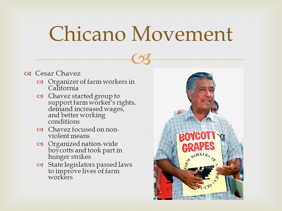 Chicano Movement Cesar Chavez Organizer of farm workers in California
