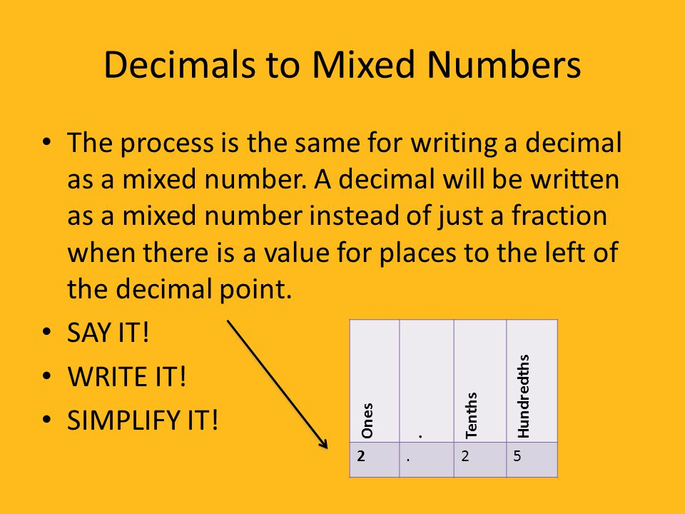 Fractions - Writing Fractions, Decimals, Mixed Numbers